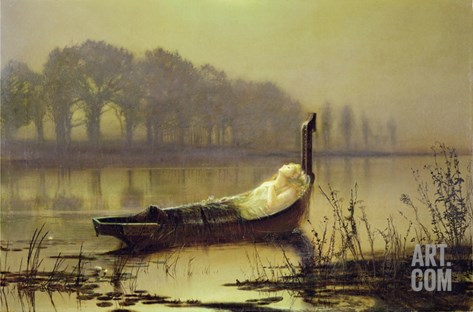 The Lady of Shalott', c.1875 Stretched Canvas Print