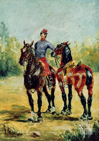 Two Horses and a Groom, 1880 Stretched Canvas Print