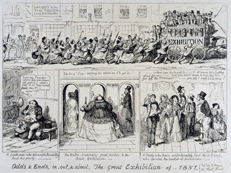 Mayhew's Great Exhibition of 1851: Odds and Ends, In, Out, and About, 1851 (Etching) Stretched Canvas Print