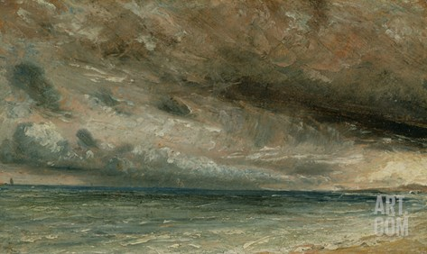 The Coast at Brighton - Stormy Evening, C.1828 (Oil on Paper Laid on Canvas) Stretched Canvas Print