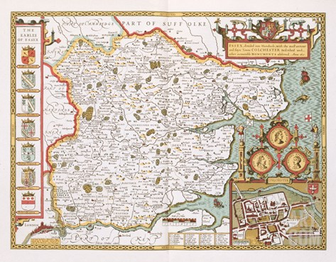 Essex, Engraved by Jodocus Hondius (1563-1612) from John Speed's Theatre of the Empire Stretched Canvas Print