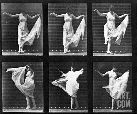 Dancing Woman, Plate 187 from 'Animal Locomotion', 1887 (B/W Photo) Stretched Canvas Print