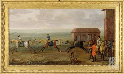Lord Portmore Watching Racehorses on Exercise on Newmarket Heath, c.1735 Stretched Canvas Print