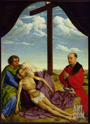 Pieta, 1450 (Oil on Panel) Stretched Canvas Print