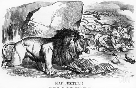 Fiat Justitia! the British Lion and the Afghan Wolves, Cartoon from 'Punch' Magazine Stretched Canvas Print