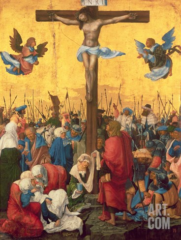 Crucifixion, C.1518 (Oil on Limewood Panel) Stretched Canvas Print