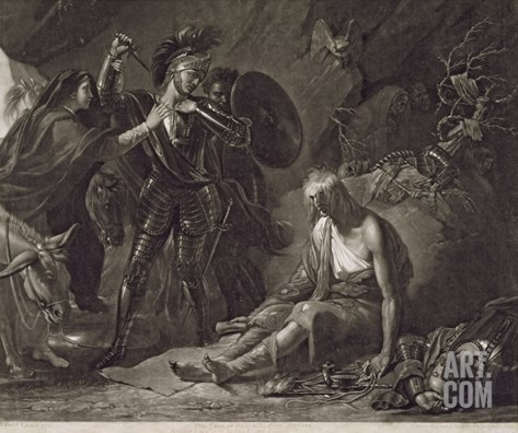 The Cave of Despair, from Spenser, Engraved by Valentine Green (1739-1813) 1775 (Mezzotint) Stretched Canvas Print
