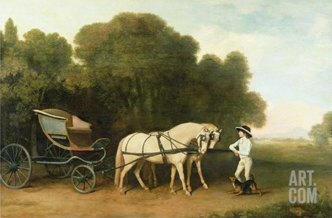 A Phaeton with a Pair of Cream Ponies in the Charge of a Stable-Lad, C.1780-5 (Oil on Panel) Stretched Canvas Print