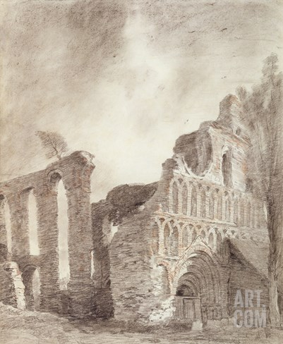 Ruin of St. Botolph's Priory, Colchester, C.1809 (Chalk and Pencil on Paper) Stretched Canvas Print