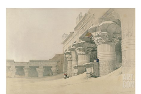 Temple of Horus, Edfu, from 'Egypt and Nubia', Engraved by Louis Haghe (1806-85) Stretched Canvas Print