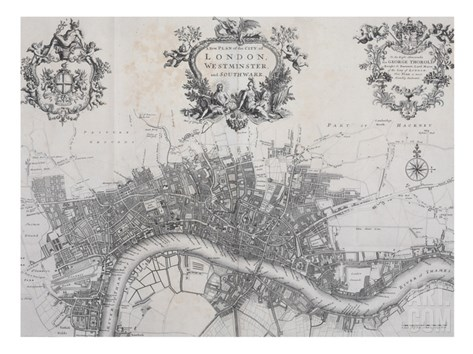 A New Plan of the City of London, Westminster and Southwark Stretched Canvas Print
