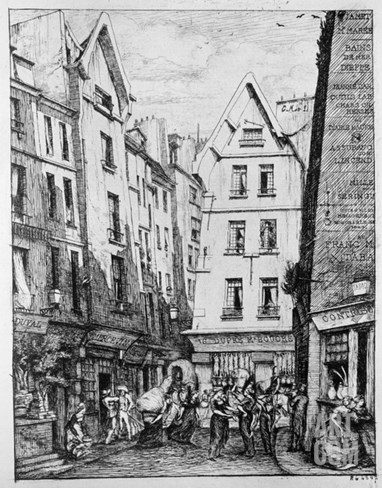 The Rue Pirouette, 1860 (B/W Photo) Stretched Canvas Print