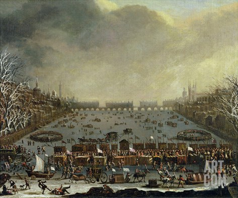 The Frost Fair of the Winter of 1683-4 on the Thames, with Old London Bridge in the Distance C.1685 Stretched Canvas Print