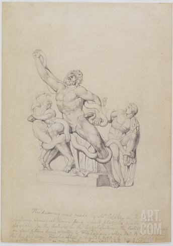 Copy of the Laocoon, for Rees's Cyclopedia, 1815 (Graphite on Laid Paper) Stretched Canvas Print