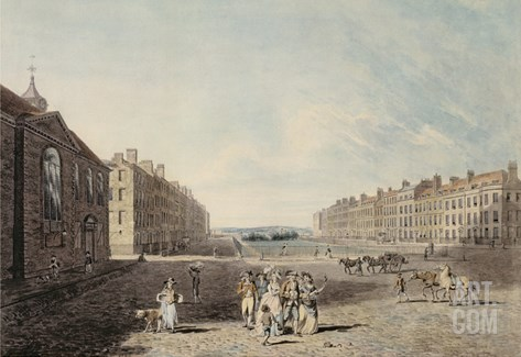 Queen Square, London, 1786 (W/C and Pen and Ink over Graphite on Wove Paper) Stretched Canvas Print