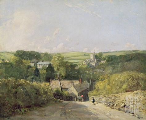 A View of Osmington Village with the Church and Vicarage, 1816 Stretched Canvas Print