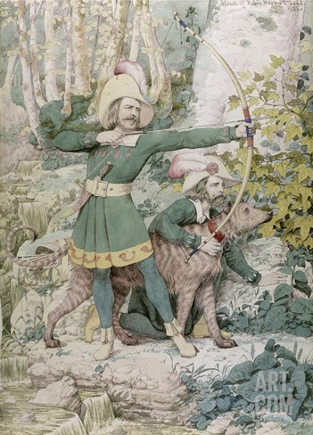 Sketch of Robin Hood, 1852 (W/C over Graphite on Paper) Stretched Canvas Print
