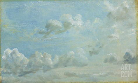 Study of Cumulus Clouds, 1822 (Oil on Paper Laid Down on Panel) Stretched Canvas Print