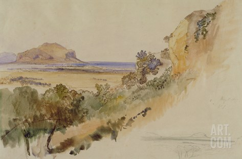 View Near Palermo, 1847 (Pen and Ink with W/C over Pencil on Paper) Stretched Canvas Print