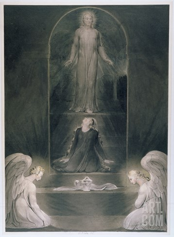 Mary Magdalene at the Sepulchre, C.1805 (W/C and Pen and Black Ink on Paper) Stretched Canvas Print
