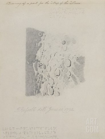 Drawing for the Map of the Moon, 1794 (Pencil on Paper) Stretched Canvas Print