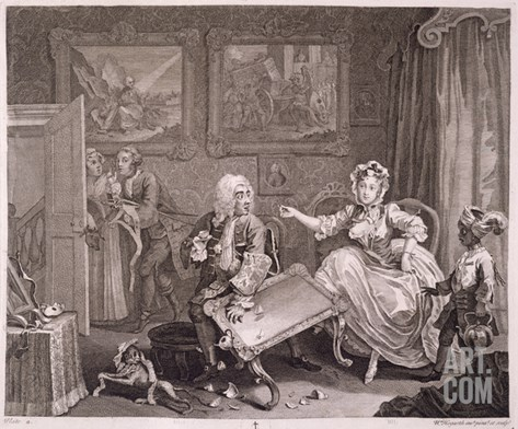 A Harlot's Progress, Plate Ii, from 'The Original and Genuine Works of William Hogarth' Stretched Canvas Print