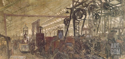 Interior of a Munitions Factory, 1916-17 (Tempera on Canvas) Stretched Canvas Print