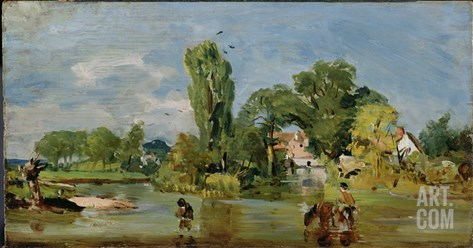 Flatford Mill, C.1810-11 (Oil on Panel) Stretched Canvas Print