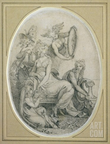 Drawing for the Frontispiece of 'The Botanic Garden', by Erasmus Darwin (1731-1802) Stretched Canvas Print