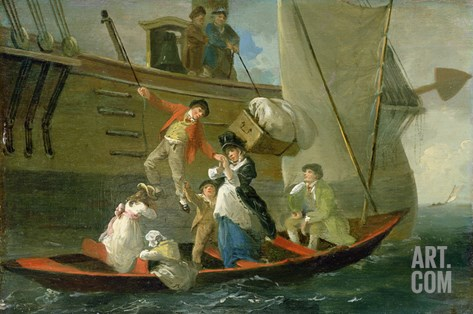 A Married Sailor's Adieu, C.1800 (Oil on Panel) Stretched Canvas Print