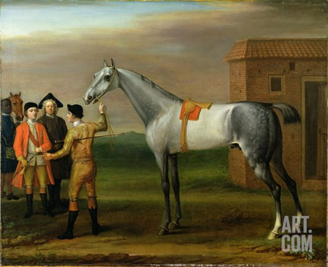 Lamprey, with His Owner, Sir William Morgan, at Newmarket, 1723 Stretched Canvas Print