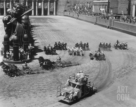 Filming the Chariot Race from 'Ben-Hur', 1925 (B/W Photo) Stretched Canvas Print