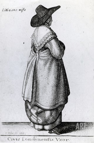 Wife of a Citizen of London, 1643 (Etching) Stretched Canvas Print