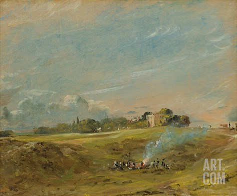 A View of Hampstead Heath, with Figures Round a Bonfire Stretched Canvas Print