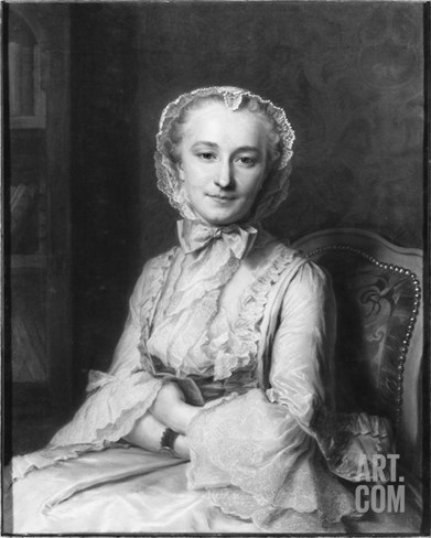 Mademoiselle Marie Salle, 1741 (Pastel on Paper) (B/W Photo) Stretched Canvas Print