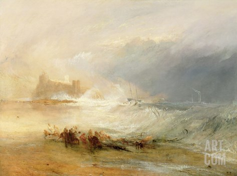 Wreckers - Coast of Northumberland, with a Steam Boat Assisting a Ship Off Shore, 1834 Stretched Canvas Print