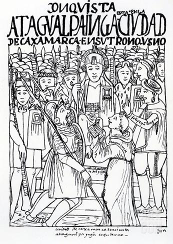 Diego De Almagro, Francisco Pizarro and Friar Vicente De Valverde Kneeling before Atahualpa Inca Stretched Canvas Print