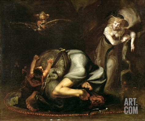 Scene of Witches from 'The Masque of Queens' by Benjamin Jonson (1572-1637) c.1785 Stretched Canvas Print