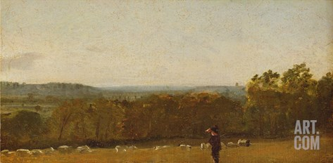 A Shepherd in a Landscape Looking across Dedham Vale Towards Langham, C.1810 Stretched Canvas Print