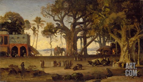 Moonlit Scene of Indian Figures and Elephants Among Banyan Trees, Upper India (Probably Lucknow) Stretched Canvas Print