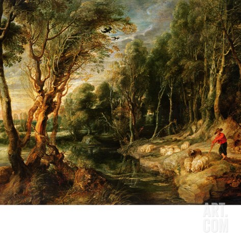 A Shepherd with His Flock in a Woody Landscape, C.1615-22 (Oil on Oak) Stretched Canvas Print