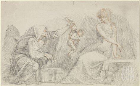 Selling of Cupids, C.1776 (Red and Black Chalk with Graphite on Paper) Stretched Canvas Print