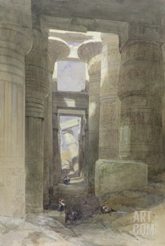 The Great Temple of Amon Karnak, the Hypostyle Hall, 1838 (W/C and Gouache over Graphite on Paper) Stretched Canvas Print