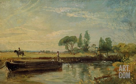 A Barge Below Flatford Lock, c.1810 Stretched Canvas Print