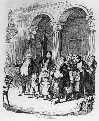 Public Dinners, Illustration from 'sketches by Boz', 1836 (Engraving) Stretched Canvas Print