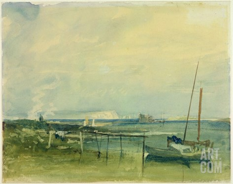 Coast Scene with White Cliffs and Boats on Shore (W/C and Graphite on Paper) Stretched Canvas Print