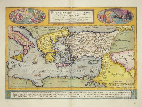 Peregrinationis Divi Pauli Typus Corographicus' Page from the 'Atlas Major', 1662 Stretched Canvas Print