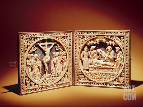 Crucifixion and Entombment, C.1400 (Ivory) Stretched Canvas Print