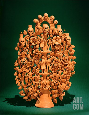 Tree of Life (Single-Fired Earthenware) Stretched Canvas Print