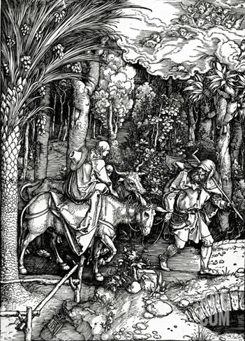 The Flight into Egypt, from the 'Life of the Virgin' Series, Published in 1511 (Woodcut) Stretched Canvas Print